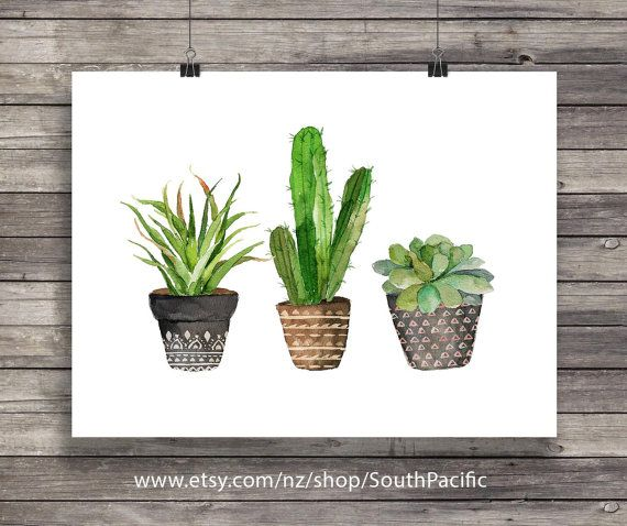 Cacti art print watercolor cactus hand painted watercolor cactus cacti art print watercolor cactus hand painted by southpacific fandeluxe Gallery