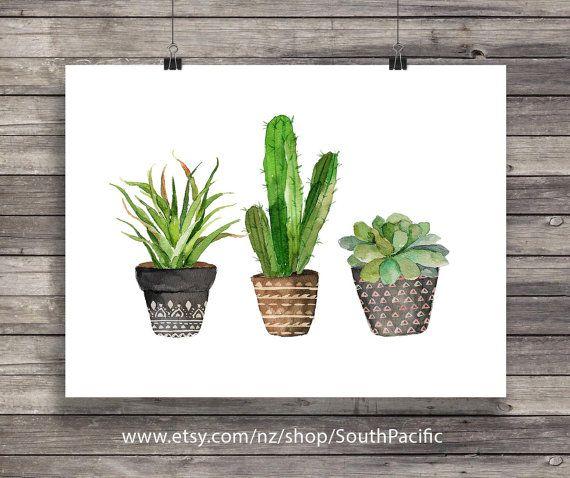 Cacti Art Print Watercolor Cactus Painting Watercolor Cactus House