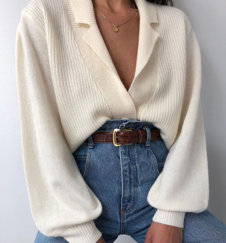 Photo of #Blanc #Cardigan # Jeans a vita alta #Jeans #Styling Styling Bianco Ca