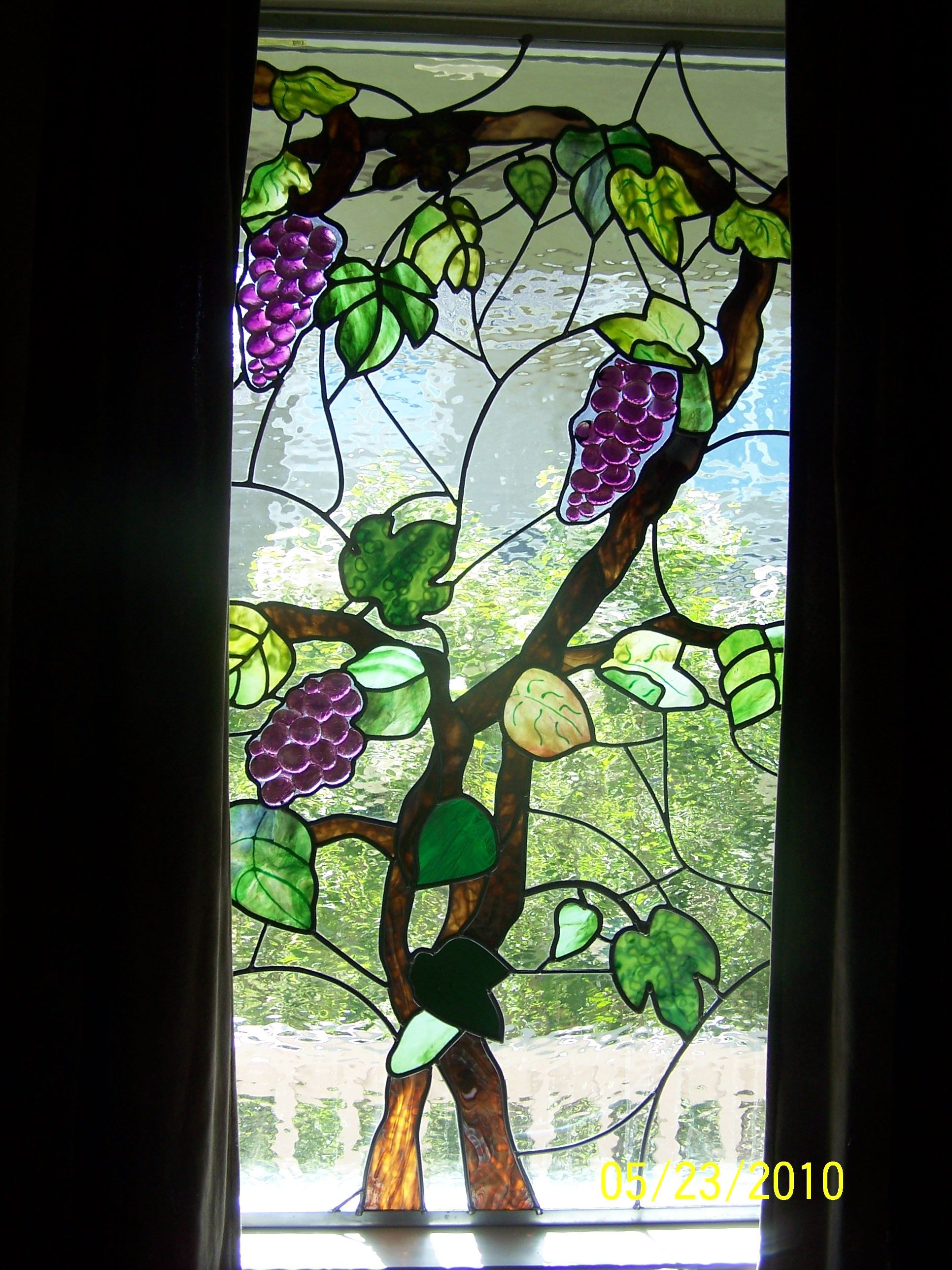Grape vine window, stained glass