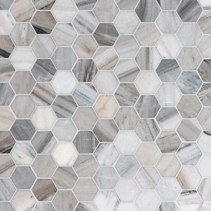 Skyline Polished Hexagon Marble Mosaics 10 3/8x12 - Country Floors of America LLC., #38x12 #America #Country #Floors #hexagon #LLC #Marble #Mosaics #Polished #Skyline