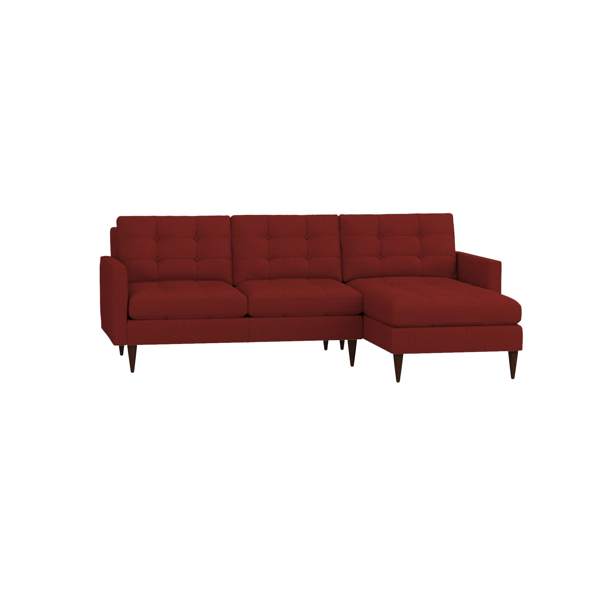 Shop petrie 2 piece right arm chaise sectional sofa now a crate and barrel classic its pure 1960s aesthetic is scaled deep so you can sit firm and upright