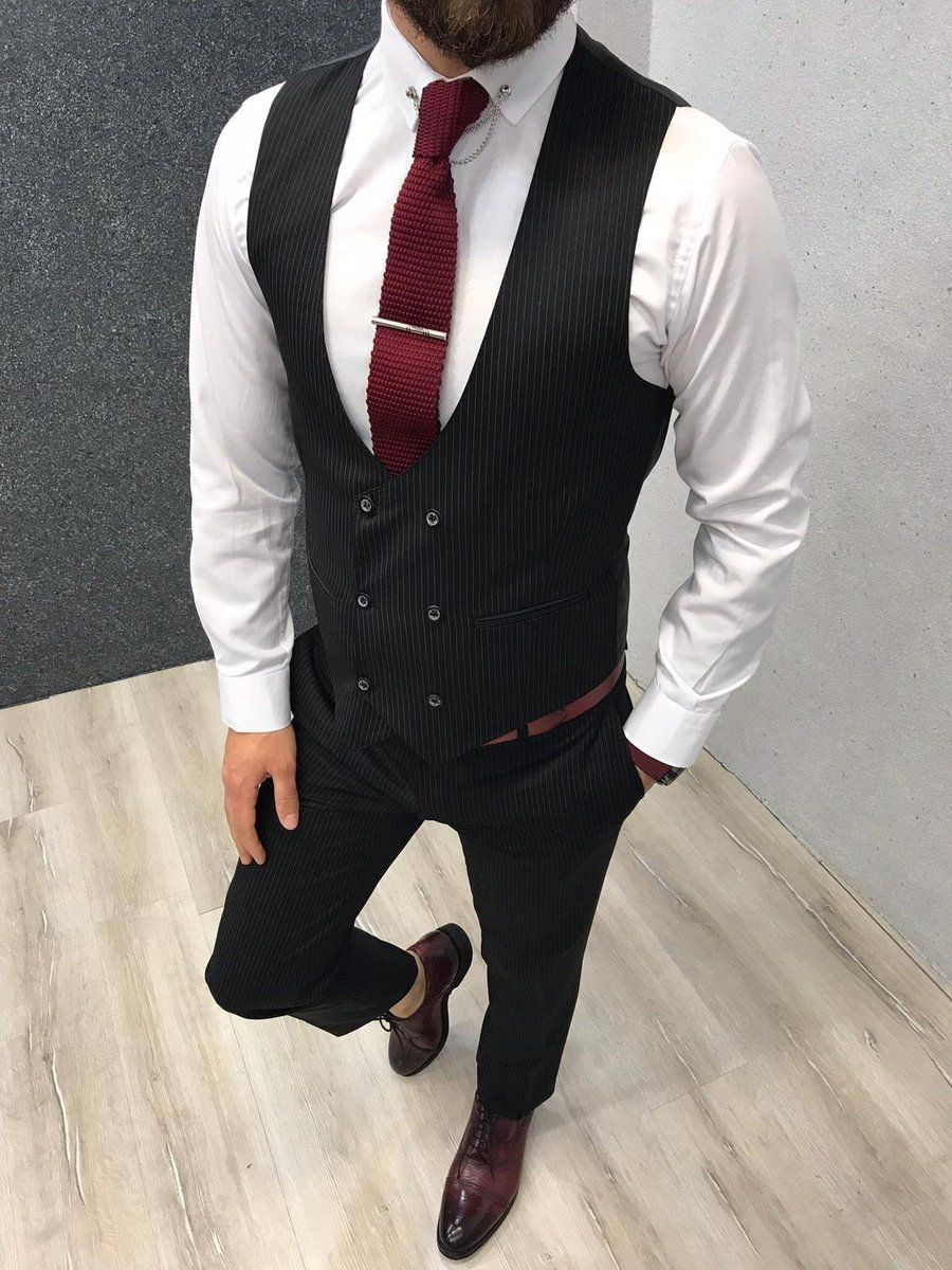 Matteo Black Striped Suit Brabion Vest Outfits Men Black Vest Outfit Black Suit Combinations [ 1200 x 900 Pixel ]