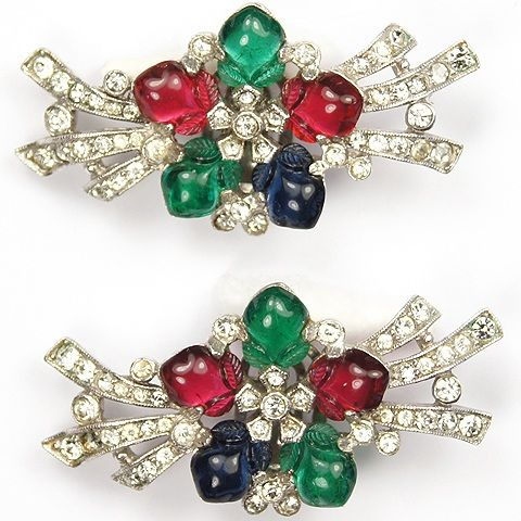 Trifari 'Alfred Philippe' Pave Branches and Tricolour Fruit Salad Flower Clip Earring
