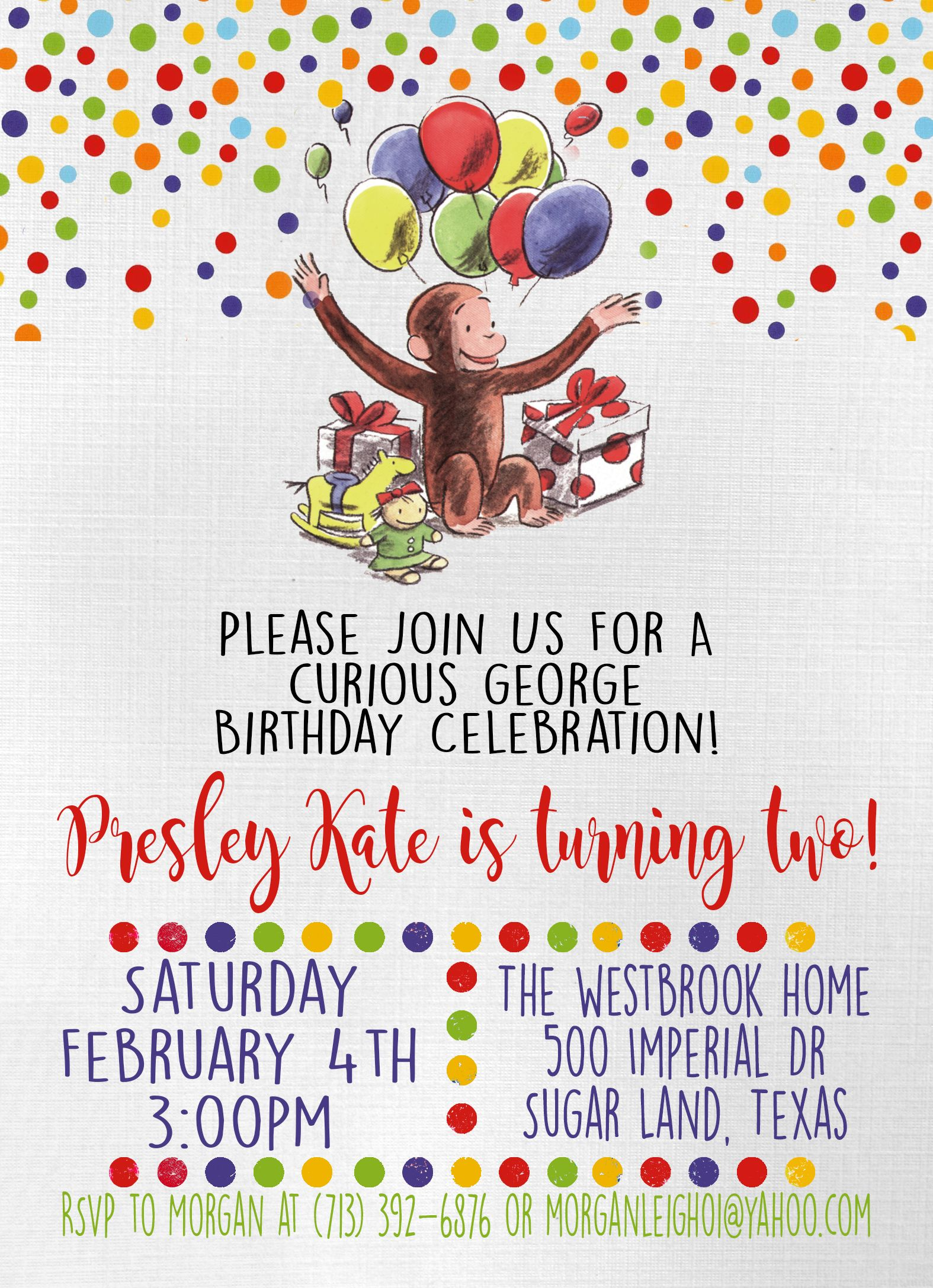 Vintage curious George party invitation Stationery cards and