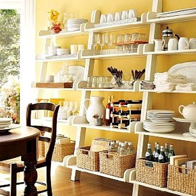 Open Shelves for a Small Space with wonderful Buttercup Yellow wall ...
