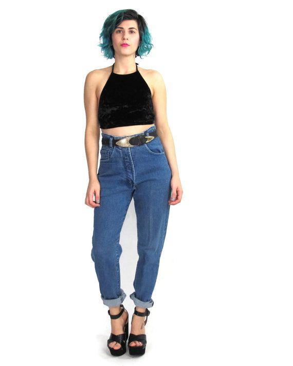 2edbc9b2912 90s Grunge Mom Jeans Hipster High Waist Jeans Stretchy Medium Wash ...