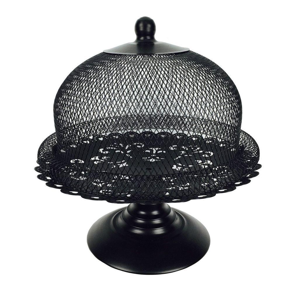 Black cake stand and dome lid metal cake plate display