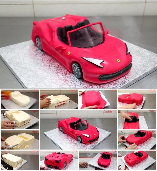 How To Make A Ferrari Car Cake With Images Car Cake Car
