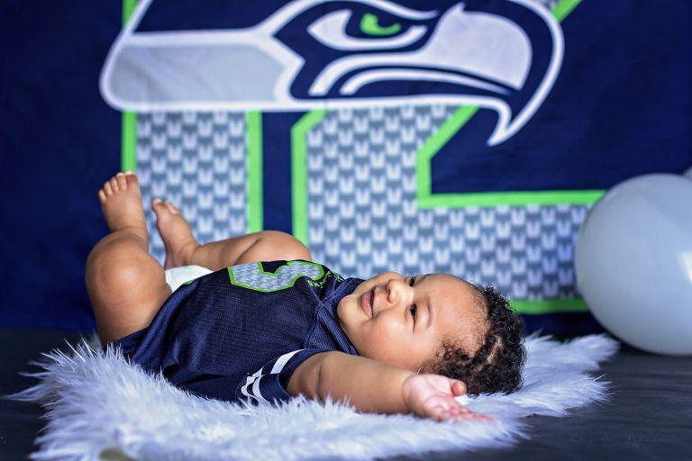 3 Month Old Portaits | Angela Shakur Photography | Clarksville, TN | Seattle Seahawks Baby