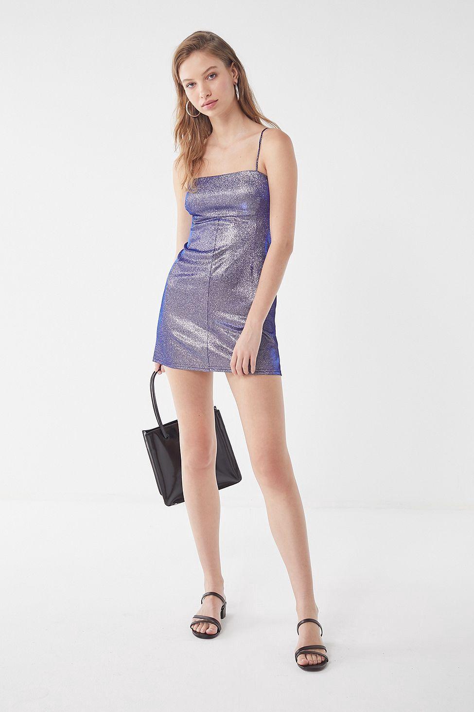 462bc9e36f4 Urban Outfitters Uo Sparkle Moon Beam Empire Waist Mini Dress - Purple Xl  Silver  UrbanWearFashionGrey