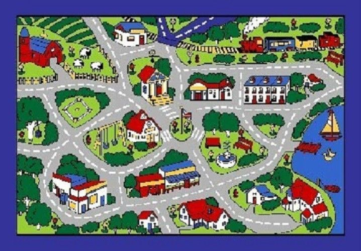Street Map Grey Cars Truck Children Play Rug For Kids 5 X 7 Non Skid Area