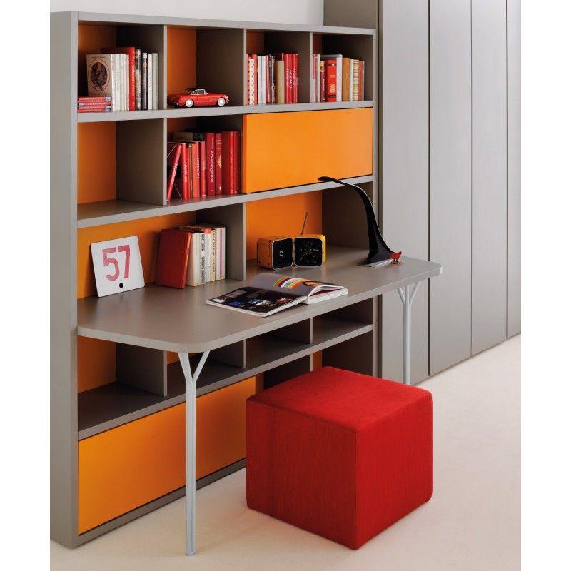 Libreria con scrivania integrata kk46 pineglen for Scrivania con libreria ikea