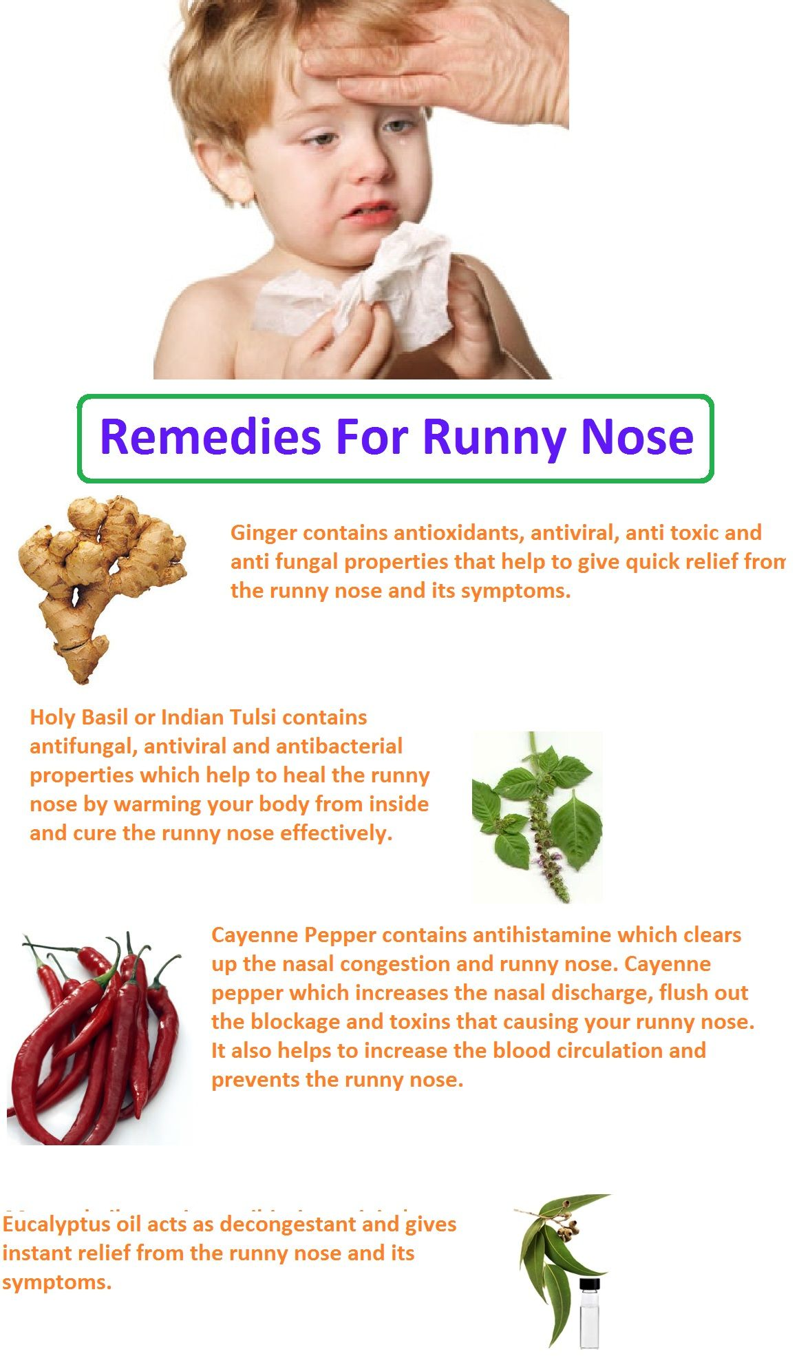 14 DIY Home Remedies for Runny Nose Runny nose remedies