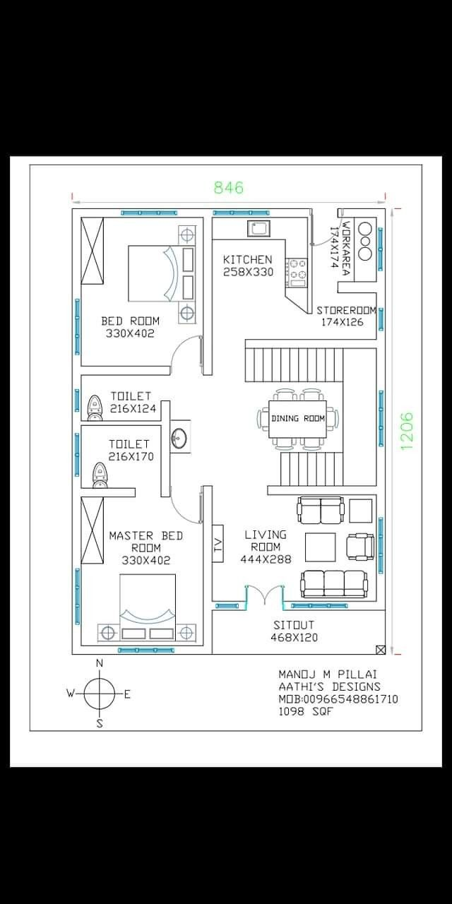 Pin By Rafi Mohamed On Our 2bhk House Plan My House Plans Indian House Plans
