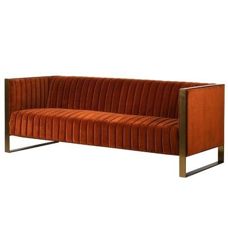 Tremendous Orange Ribbed 3 Seater Sofa Fabric Sofas Sofa Velvet Creativecarmelina Interior Chair Design Creativecarmelinacom