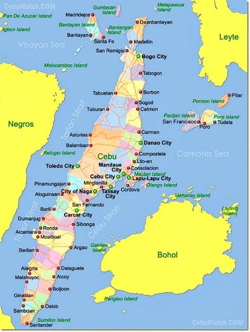 Cebu Map Beaches in Cebu Island Philippines are fantastic for