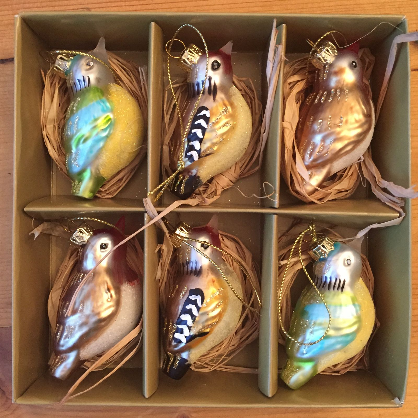 Bessies Vintage Multicoloured Glass Birds Set Of 6 #Vintage Style