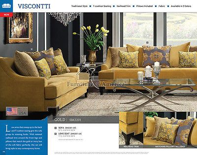 Sensational Visconti Silver Or Gold Sofa And Loveseat Couch Tufted Bralicious Painted Fabric Chair Ideas Braliciousco