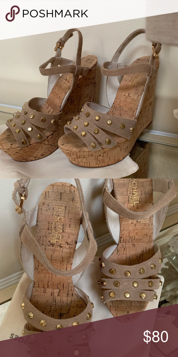 Shoes Michael kors cork studded wedges. Gently used. Michael