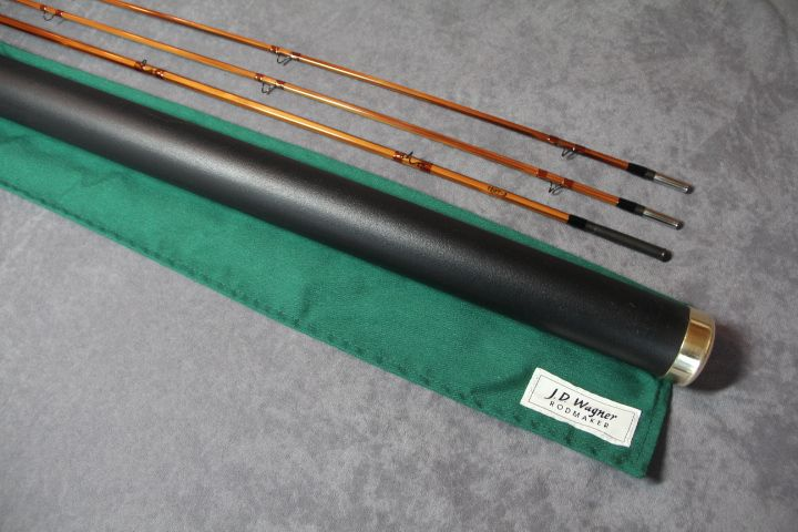 """J. D. WAGNER - MAKER, OHIO, MODEL """"280ZW""""8' 2PC 2 TIP 4 WT, Serial #1207-3 Medium fast dry fly action. Very nice dark flamed cane. Glass-like varnish finish. Blued nickel silver ferrules. Wrapped in dark brown silks and tipped in black. Swelled butt with cigar cork grip and blued nickel silver slideband reelseat and burled wooden spacer."""