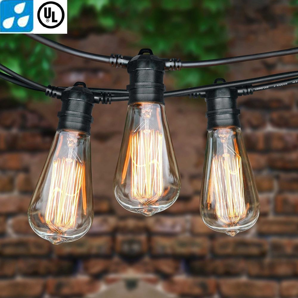 25/48/75 Foot Vintage Patio String Lights Amber E26 Edison Bulbs Indoor  Outdoor #BYB