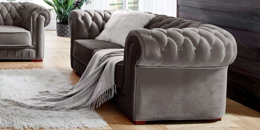 Designer Chesterfield Sofa Samt Silber Grau Barock 2 Sitzer Garnitur Chesterfield Sofa Chesterfield