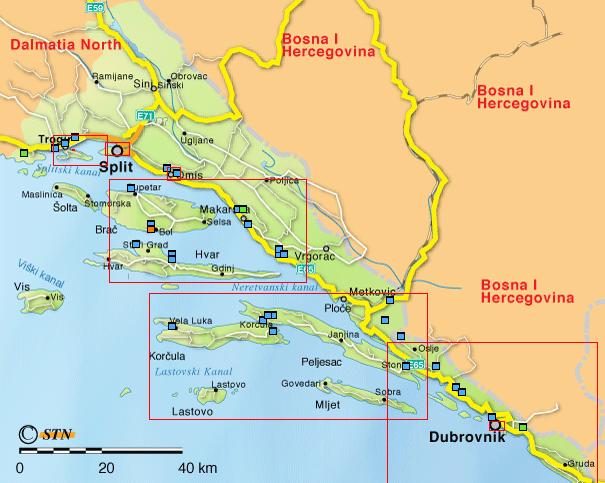Carte Croatie Dalmatie Centrale.Carte Des Iles En Croatie Dalmatie Centrale Croatia