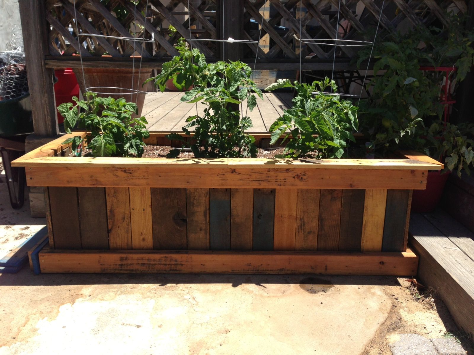 Pallet planter box and organic heirloom tomatoes home for Garden planter designs