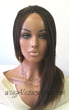 Fully Braided Remy Human Hair Lace Front Wig Color 4 1b In Stock