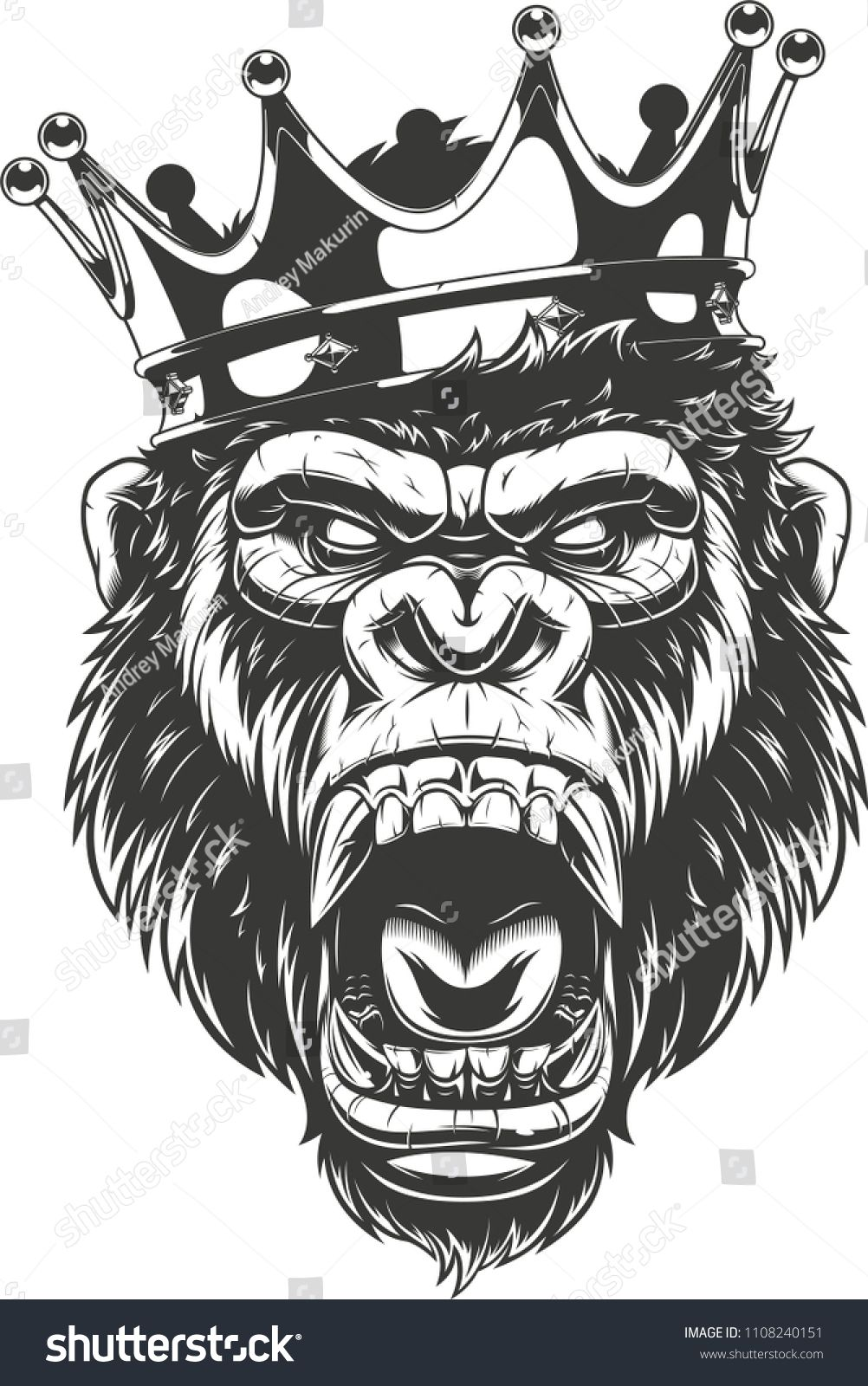 Vector Illustration Ferocious Gorilla Head On With Crown King Of