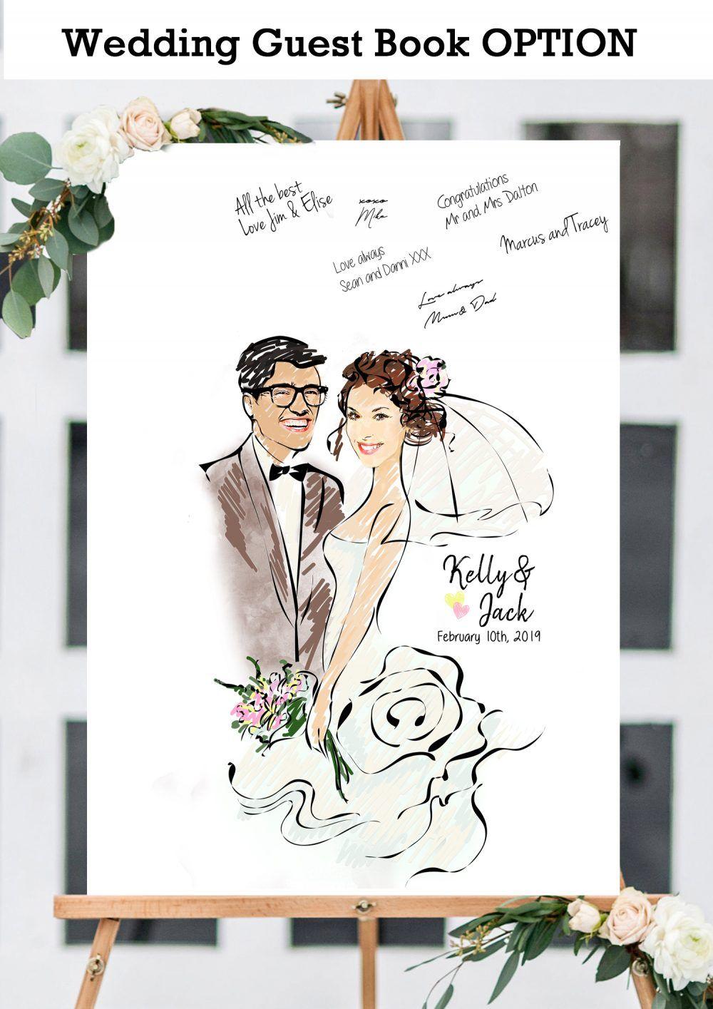 Scribble Watercolor Wedding Illustration Wedding Illustration