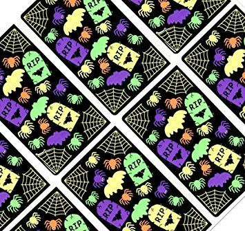 Custom & Decorative to Inch} 160 Bulk Pack of Mid-Size Stickers for Arts,  Crafts & Scrapbooking w/ Halloween Themed Neon Bright Webs, Spiders, ...