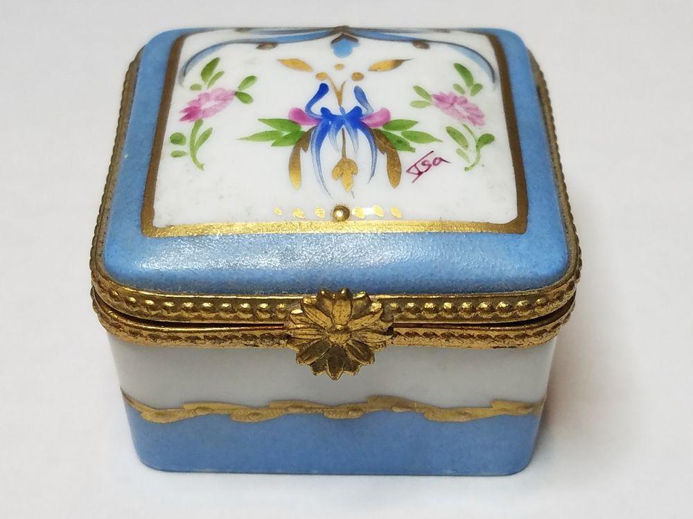 Hand Painted Limoges France Porcelain Floral Hinged Gold Trinket Box Signed