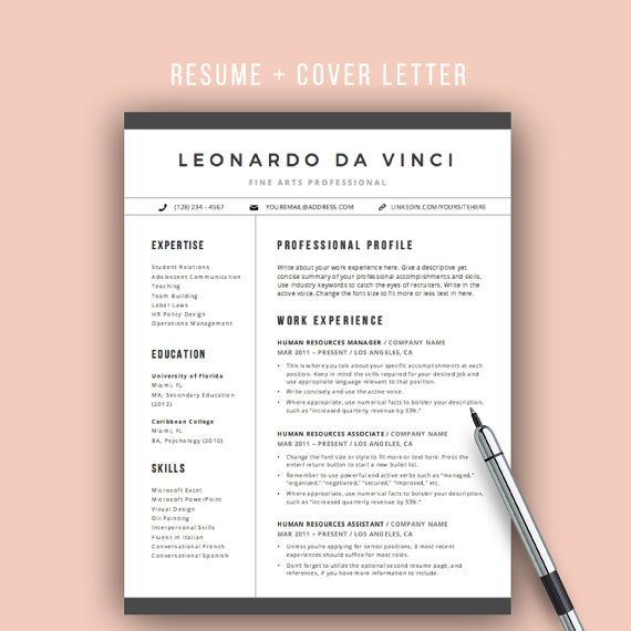 Resume Template Word 4 Pages CV Template by theResumeMaker - pages resume templates free