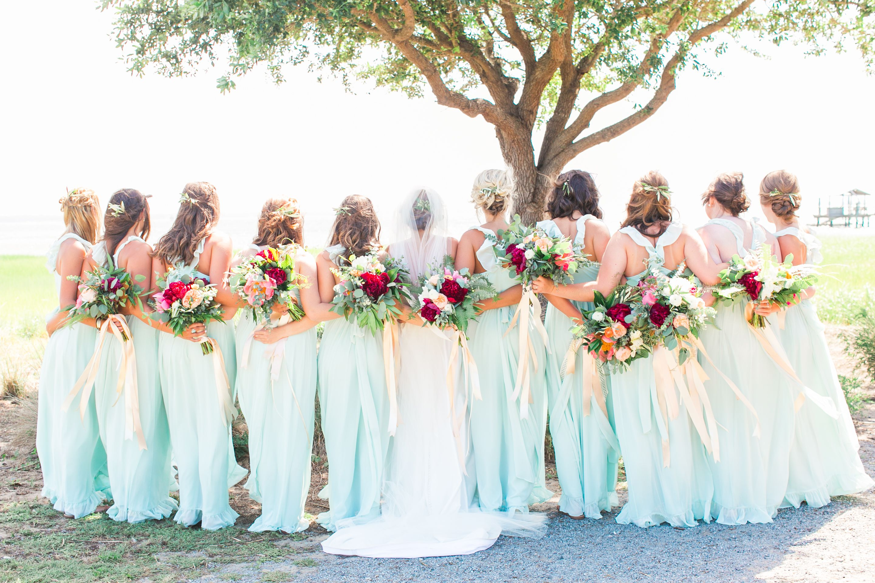 Sage & Bright Pink Wedding Bridal Party #sagegreendress