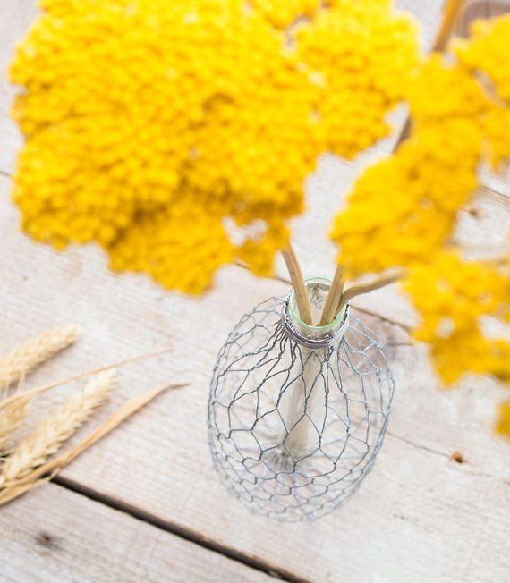 Modern Flower Vase  Metal Wire Glass Tube Bud Vase by RawOriginals, $19.00