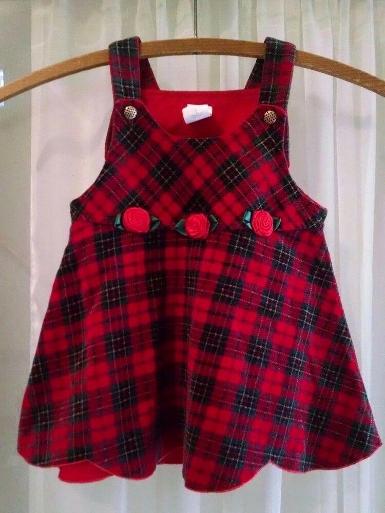 Baby christmas dress 24m red plaid velvet roses sleeveless