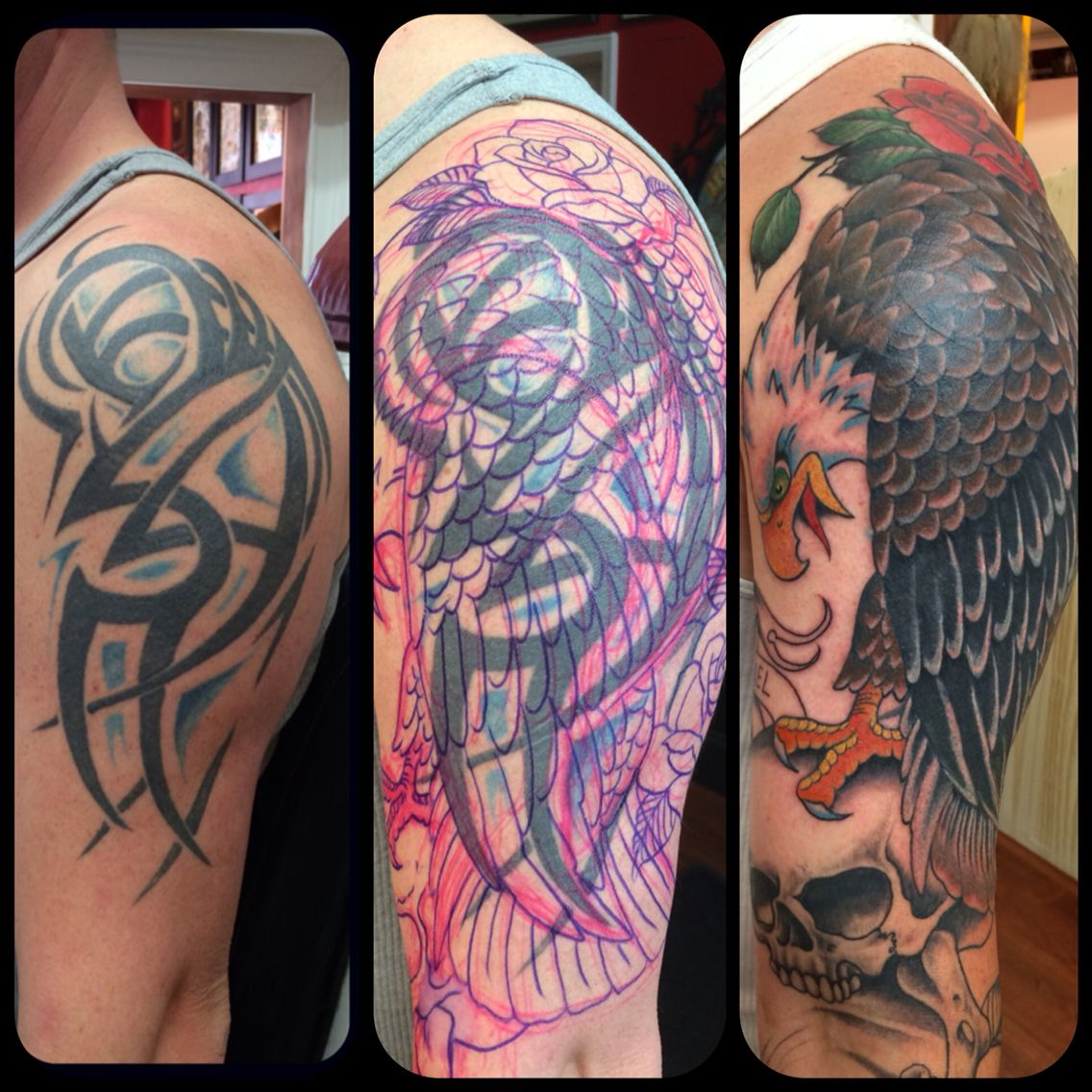 Cover up magic before and after Tribal tattoo cover up