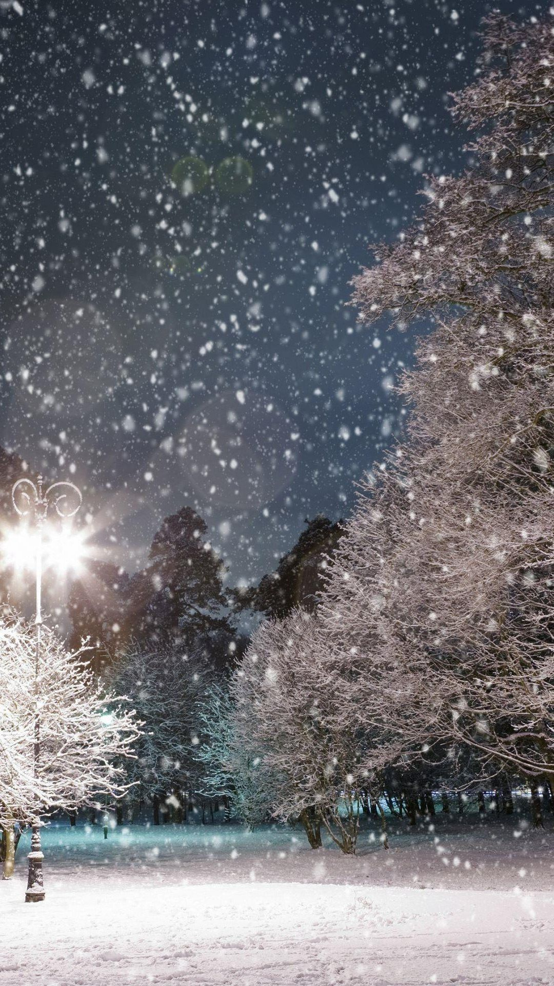 Falling Snow Trees Night android wallpaper HD Зима