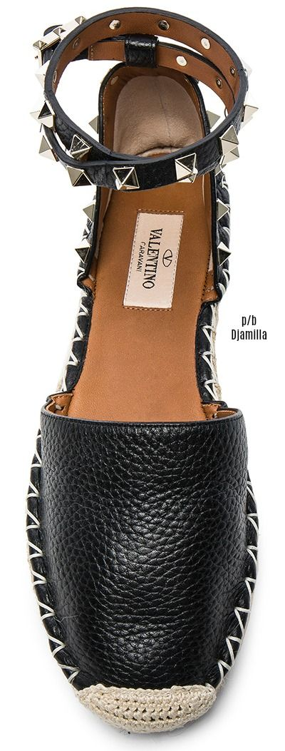 VALENTINO -  Rockstud Double Flat Leather Espadrilles