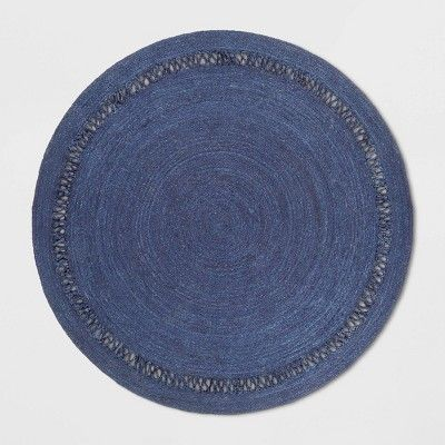 6 Solid Braided Round Area Rug Navy Opalhouse Target With