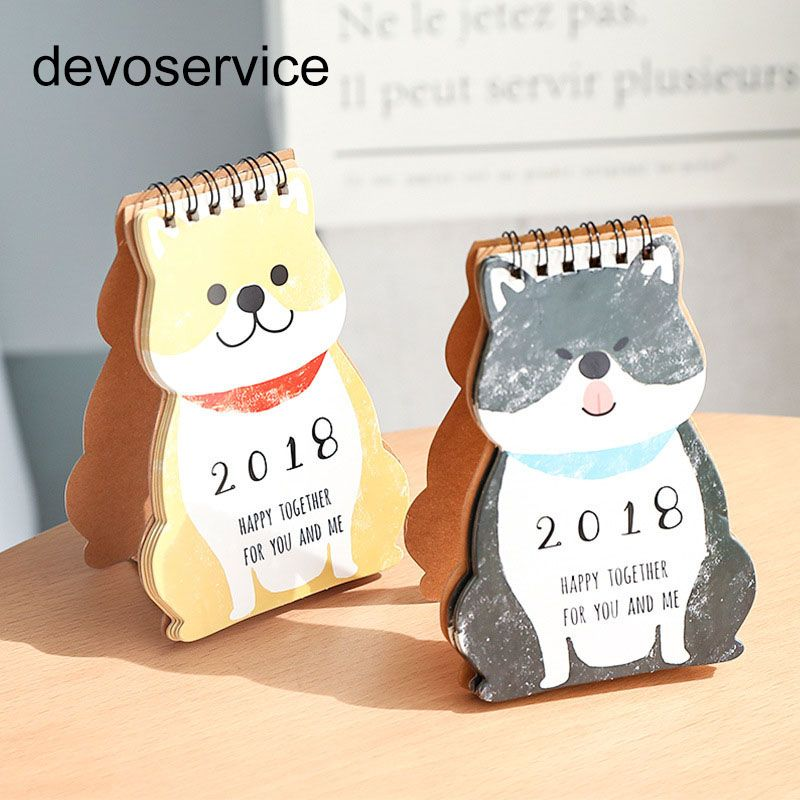 1 pc Kalendarz 2018 Calendario Fresh Style DIY Zwierzęta Pulpitu Kalendarza Papieru Papier Prezent Student Biurowe