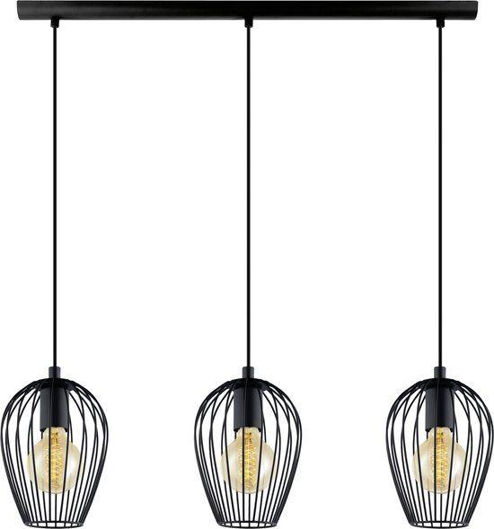 vintage newtown hanglamp 3 lichts lengte 700mm zwart