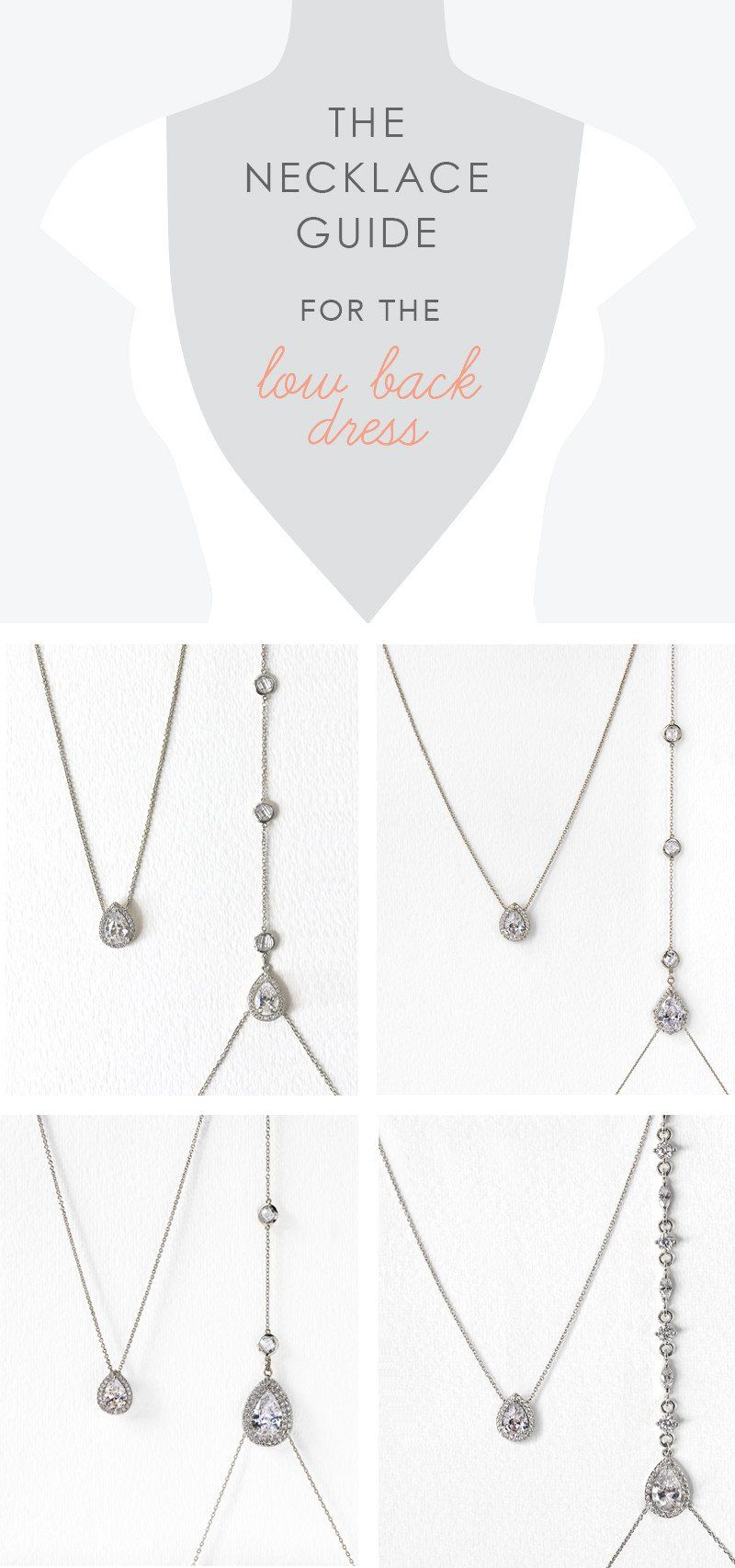 The necklace guide for the low back dress crystal glam