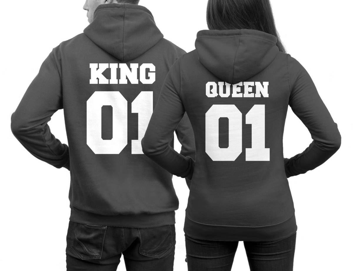 Parchenpullis King 01 Queen 01 In Dunkelgrau Paar Pullover Pulli Paar Pullis