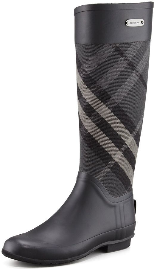 Burberry Mixed Media Rain Boot, Charcoal