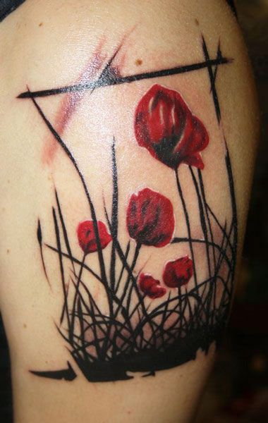 Abstract Flowers Tattoo by Balazs Revai   Tattoo No. 5054