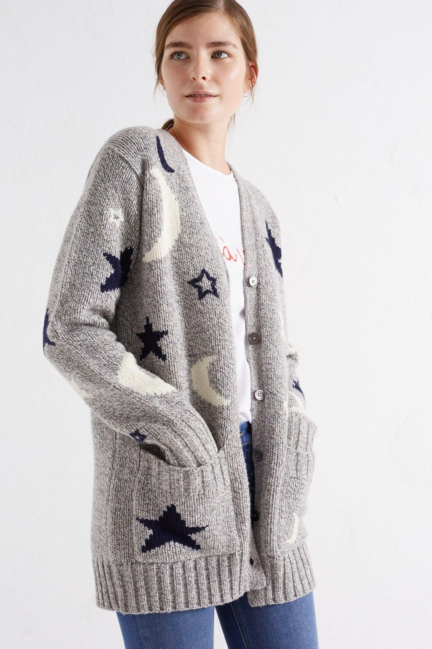 EXCLUSIVE Grey Midnight Sky Boyfriend Cardigan | Crochet & Knit ...