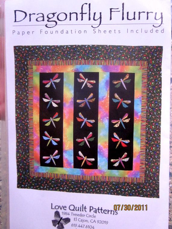 Dragonfly Flurry Quilt Sewing Pattern, UNCUT | Dragonflies, Sewing ... : flurry quilt pattern - Adamdwight.com